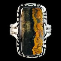 Navajo Sterling and Bumblebee Jasper Ring by Melissa Yazzie