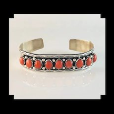Sterling and Salmon Coral Bracelet by Navajo Rex Abetia