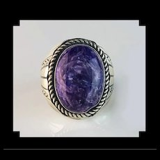 Sterling and Charoite Mens Ring by Navajo Gabby Jurado