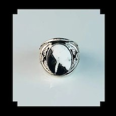 Navajo Sterling and White Buffalo Mens Ring