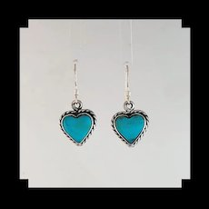 Navajo Sterling and Turquoise Heart Shape Earrings