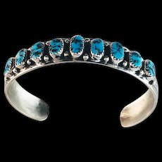 Navajo Sterling and 9 Stone Kingman Nugget Bracelet