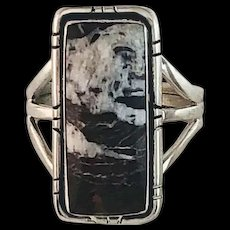 Navajo Sterling and White Buffalo Ring by Melissa Yazzie