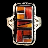 Navajo Sterling and Tri Color Spiny Oyster Ring