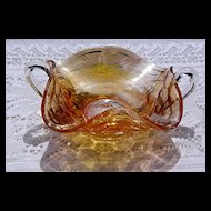 Marigold Carnival Candy Dish by Jeanette Glass ca 1960