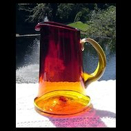 Hand Blown Amberina Pitcher