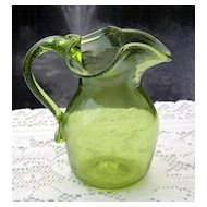 Hand Blown Pitcher with Metal Flake or Dust in Glass