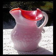 Kanawha's Grape Pattern Overlay/Cased Glass Pitcher ca 1960's