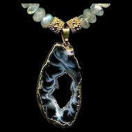 Midnight Rhapsody: Dazzling Druzy Agate with Shimmering Rainbow Moonstones Necklace