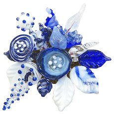 Gorgeous, Unique, Glass Corsage in the Colors of Delft