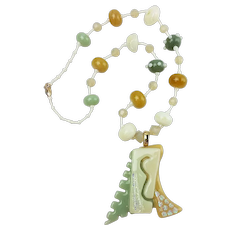 Timeless Necklace in Neutral Colors with Lampwork Beads and Fused Glass Pendant