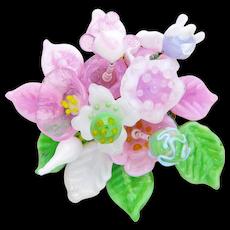 Gorgeous, Unique, Glass Corsage in the Soft Pastel Colors