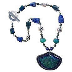 Azurite and Malachite Necklace, Hand-Beaded Cabochon Pendant, Sweetpea Cottage Artisan Made