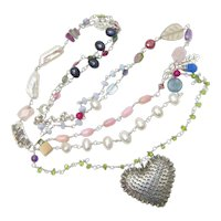 Spectacular Long Sterling Necklace with Pearls and Multiple Types of Gemstones