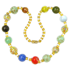 Vintage Murano, Italy Glass Necklace with Unusual Multi-Color Beads