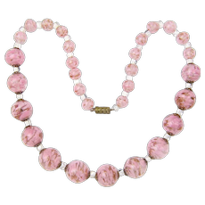 Vintage Murano, Italy Glass Necklace with Pink Snow Flake Beads