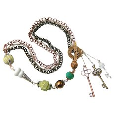 Beautiful Artisan Designed Necklace with Unusual Selection of Semi-Precious Stones