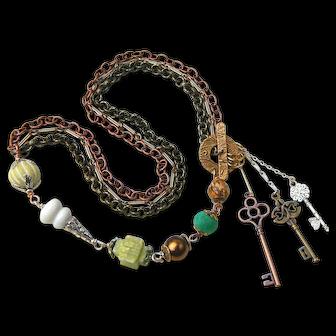 Beautiful Artisan Designed Necklace with Unusual Selection of Semi-Precious Stones, Sweetpea Cottage Studio
