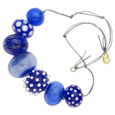 Huge Glass Bubble Bead Necklace in Cobalt Blue with White Accents - Made and Strung in Our Studio
