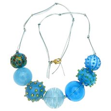 Huge Aqua Glass Bubble Bead Necklace Made and Strung in Our Studio