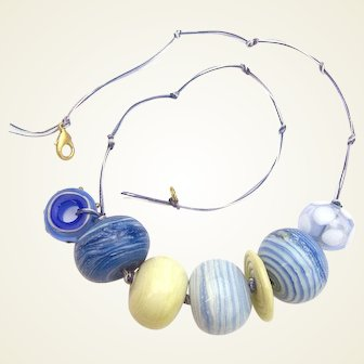 Huge Glass Bubble Bead Necklace in Denim Colors - Made and Strung in Our Studio