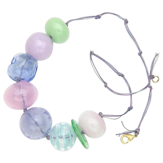 Huge Glass Bubble Bead Necklace in Easter Egg Colors - Made and Strung in Our Studio