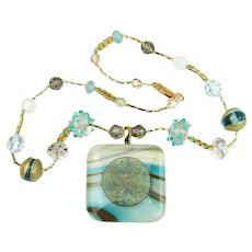 Charming Lampwork Necklace with Fused Glass Pendant in Shades of Seafoam