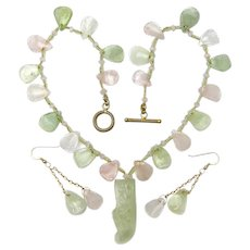 New Jade and Rose Quartz Necklace  w/ Carved Shoe Pendant
