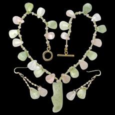 New Jade and Rose Quartz Necklace  w/ Carved Shoe Pendant