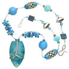 Gorgeous Multi-Stone Necklace in Marine Life Colors, Artisan Crafted at Sweetpea Cottage