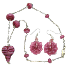 Heart Necklace and Earring Set w/ Handmade Lampworked Beads