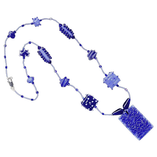 Two-Tone Blues in a Charming Necklace w/ Our Own Lampworked Beads