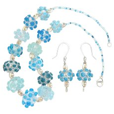Lampwork Beaded Artisan Made Necklace and Earrings in Marine Colors, Sweetpea Cottage Studio