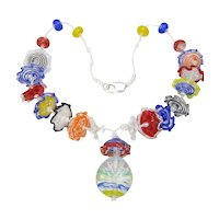 Artisan Lampworked Glass Ruffles Beads, Multi-Colored Necklace