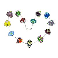 Artisan Lampwork Flowery Glass Bead Choker