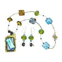 Sweetpea Cottage Crafted Necklace with Lampwork Beads and Fused Glass Pendant