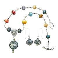 Lampwork Bird's Egg Beaded Necklace and Earring Set
