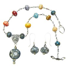 Lampwork Bird's Egg Beaded Necklace and Earring Set; Artisan Crafted at Sweetpea Cottage Studio