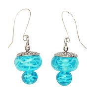 Swirly Turquoise Earrings in Sterling with Lampwork Beads