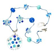 Charming Lampwork Necklace with Fused Glass Pendant in Shades of Blue