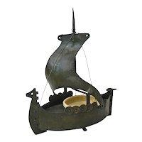 Goberg Hand Made Iron Viking Ship Ashtray and Matchbox Holder, Ca. 1910