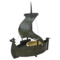 Goberg Hand Made Iron Viking Ship Ashtray and Matchbox Holder, Ca. 1910