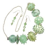 Artisan Crafted Fetching Glass Bubble Bead Necklace and Earrings