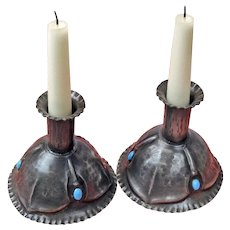 Pair of Art Nouveau Pewter and Turquoise Glass Candlesticks