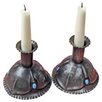 Art Nouveau Pewter and Turquoise Glass Candlesticks, Matched Pair