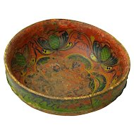 Norwegian Ale Bowl, Dated 1868, Telemark Rosemaling Decorated