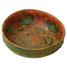Norwegian Ale Bowl, Ølbolle , Dated 1868, Telemark Rosemaling Decorated