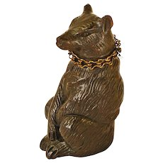 Black Forest Carved Bear Match Holder Seated or Needle Case with Chain Collar