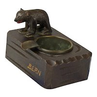 "Black Forest Carved Bear Souvenir Ashtray, ""Bern"""