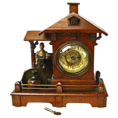 Black Forest Animated Blacksmith 36 Hour Striking Mantle Clock